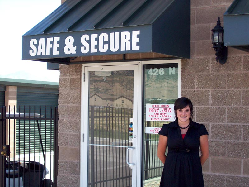 safe and secure self storage building front door with welcome receptionist