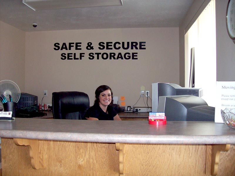 safe and secure self storage building front office and receptionist desk